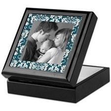 Custom Photo Damask Frame Keepsake Box