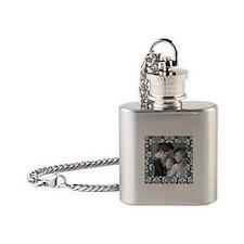Custom Photo Damask Frame Flask Necklace