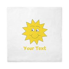 Yellow Happy Sunshine. Text. Queen Duvet