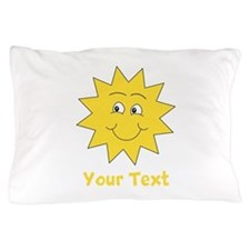 Yellow Happy Sunshine. Text. Pillow Case