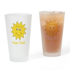 Yellow Happy Sunshine. Text. Drinking Glass