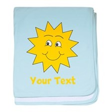 Yellow Happy Sunshine. Text. baby blanket