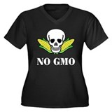 NO GMO Women's Plus Size V-Neck Dark T-Shirt