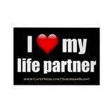 """Love My Life Partner"" Rectangle Magnet (10 pack)"