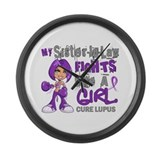 Fights Like a Girl 42.9 Lupus Large Wall Clock