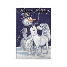 Snowman & Pony HH Rectangle Magnet