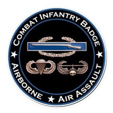 CIB Airborne Air Assault Round Car Magnet