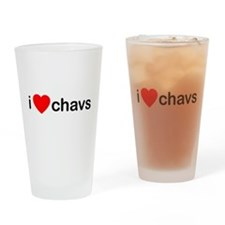 I Love Chavs Drinking Glass