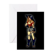 Pirate Queen Tattoo Art Greeting Card