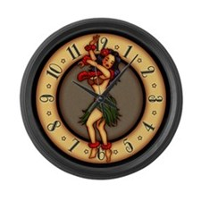 Retro Hula Tattoo Art Large Wall Clock