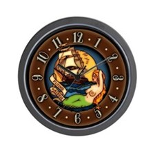 Pirate Ship Mermaid Tattoo Art Wall Clock