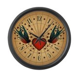 tat-swallows-stars_cl.jpg Large Wall Clock