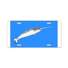 Narwhal whale bbg Aluminum License Plate