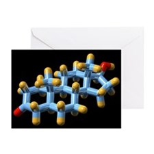 DHT hormone, molecular model - Greeting Cards (Pk