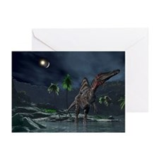 Spinosaurus witnessing a lunar impact - Greeting C