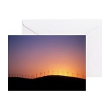Wind turbines at sunset - Greeting Cards (Pk of 20