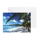 Beach with palm trees - Greeting Cards (Pk of 20)