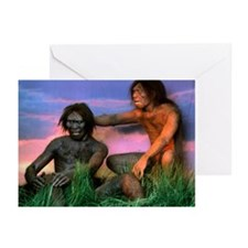 Models of Homo erectus men - Greeting Cards (Pk of