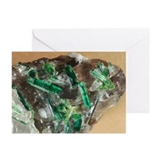 Tourmaline crystals in quartz - Greeting Cards (Pk