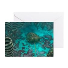 Trilobite on a seabed, artwork - Greeting Cards (P