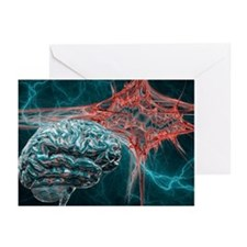 Brain and lightning, artwork - Greeting Cards (Pk