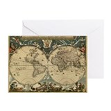 17th century world map - Greeting Cards (Pk of 20)
