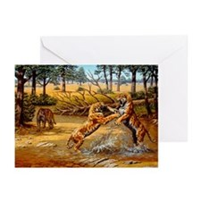 Sabre-toothed cats fighting - Greeting Cards (Pk o