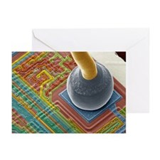 Silicon chip micro-wire, SEM - Greeting Cards (Pk