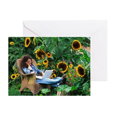 Woman uses laptop outdoors - Greeting Cards (Pk of