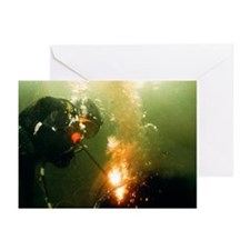 Welding underwater - Greeting Cards (Pk of 20)