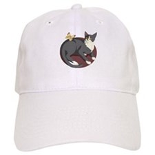 Gray Cat Watching Butterfly Baseball Cap