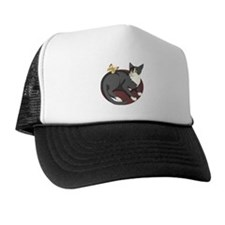 Gray Cat Watching Butterfly Trucker Hat