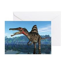 Spinosaurus dinosaur, artwork - Greeting Card