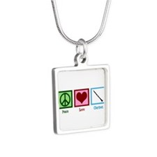 Peace Love Clarinet Silver Square Necklace