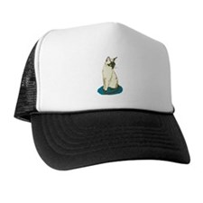 Siamese Cat on Blue Trucker Hat