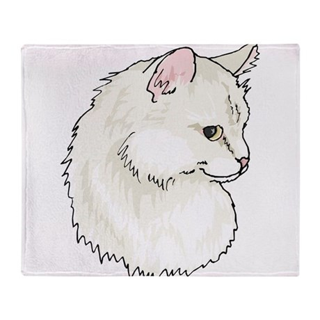 White Kitty Cat Face Throw Blanket