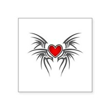 "Tribal Heart Wings Square Sticker 3"" x 3"""