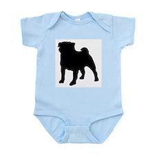 silhouette pug Infant Bodysuit