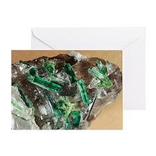 Tourmaline crystals in quartz - Greeting Card