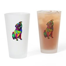 Designed Pug Drinking Glass