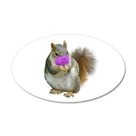 Squirrel Candy Heart 35x21 Oval Wall Decal