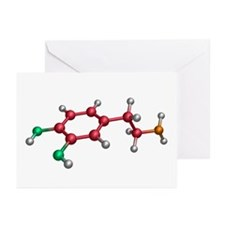 Dopamine molecule - Greeting Cards (Pk of 10)