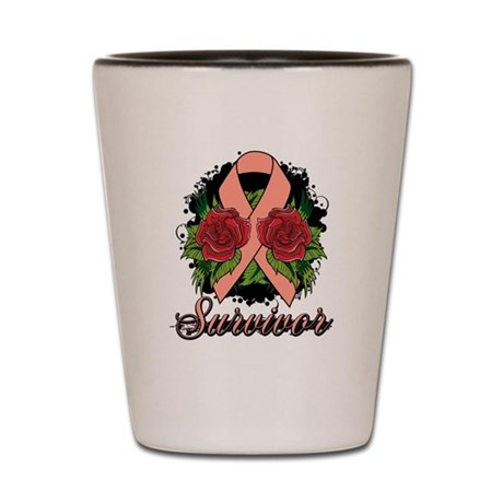 Uterine Cancer Survivor Rose Tattoo Shot Glass