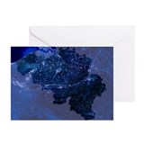Belgium by night, satellite image - Greeting Cards