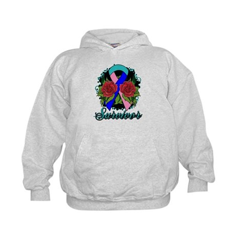 Thyroid Cancer Survivor Rose Tattoo Kids Hoodie