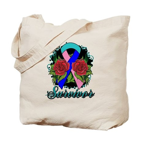 Thyroid Cancer Survivor Rose Tattoo Tote Bag
