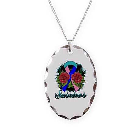 Thyroid Cancer Survivor Rose Tattoo Necklace Oval
