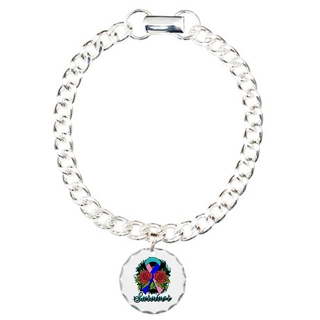 Thyroid Cancer Survivor Rose Tattoo Charm Bracelet