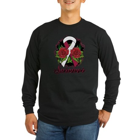 Throat Cancer Survivor Tattoo Long Sleeve Dark T-S