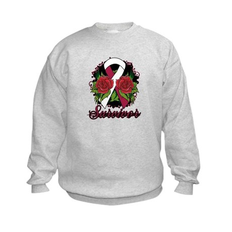 Throat Cancer Survivor Tattoo Kids Sweatshirt
